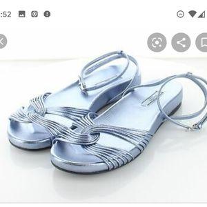 Prada Metalic leather blue flat sandals 37